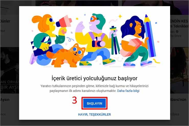 YouTube Kanal Açma Karşılama Ekranı